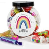 Personalised Rainbow Sweet Jar - ideal gift for NHS, Thank you, Children, Birthdays, Christmas.